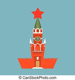 Moscow Kremlin cartoon style isolated. Spasskaya Tower on...