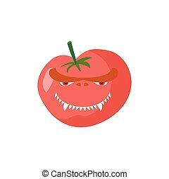Angry Tomato. Aggressive red vegetable. Dangerous fruit