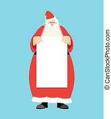 Santa Claus and blank sheet template isolated. Granddad in...