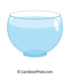 Aquarium empty round isolated. glass fishbowlon white background