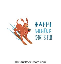 Enjoy winter outdoors - Skiiing cute dog. Domestic pet on...