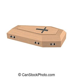 Coffin isolated. Wooden casket on white background. Religion...