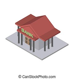 Bank building Isometric isolated. Financial building on white background