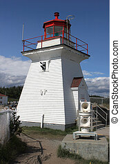 Lighthouse at Cape Enrage in New Brunswick, Canada showing...
