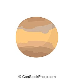 Jupiter isolated cartoon style. Brown Planet of solar system on white background