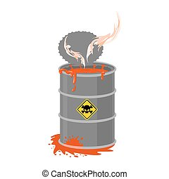 Radioactive waste barrel. Toxic refuse keg. Poisonous liquid...