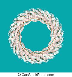 Christmas wreath white isolated. Fir branch circlet....