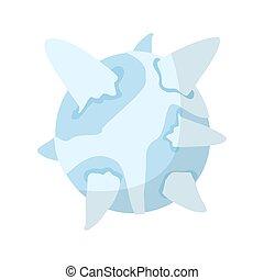 Uranus isolated cartoon style. Ice Planet of solar system on white background