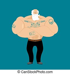 Grandfather with tattoo. Hipster pensioner. Trendy Strong old man fitness. Powerful grandfather with white beard
