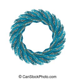 Christmas wreath blue isolated. Fir branch circlet....