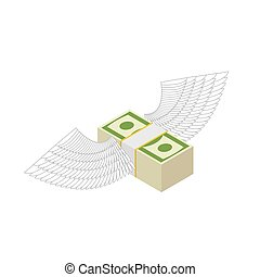 Flying money. Cash with wings. Financial income and coming....