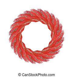 Christmas wreath red isolated. Fir branch circlet....