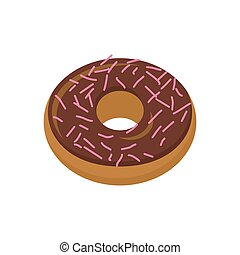 Chocolate donut isolated. Baking Sweets on white background....