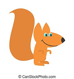 Squirrel isolated. Funny wild animal with bushy tail