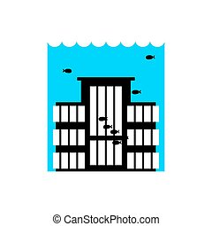 Flood Building. Flooding house. many of water architecture....