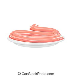 Red Tomato pasta in plate. Spaghetti isolated