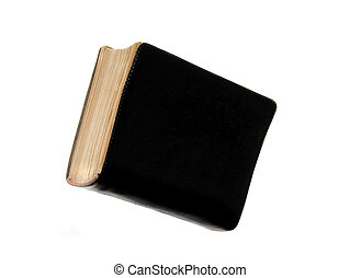 Blank black book cover isolated on white background