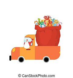 Truck Santa and red sack of gifts. Christmas car isolated. Holiday Services for New Year