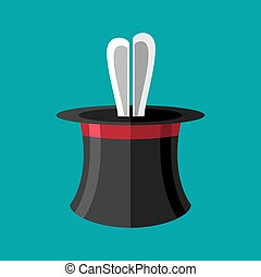 Magic trick rabbit in hat. Magical cap and bunny. animal...