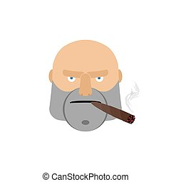 Angry man with cigar. Aggressive male face isolated
