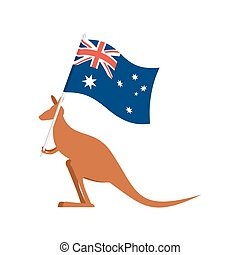 Kangaroos and Australian flag. wallaby for Australia Day...