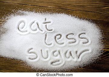 EAT LESS SUGAR written on pile of sugar - EAT LESS SUGAR...