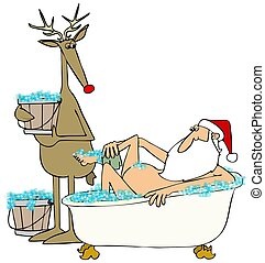 Santa taking a bubble bath - Illustration of santa Claus...