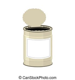 Open cans isolated. opened Tin bank on white background