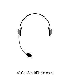 Headset isolated. Microphone and headphones on white...