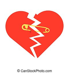 torn heart with safety pin