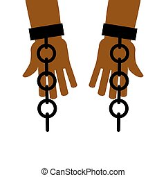 Emancipation from slavery. break free. Chains on slave...