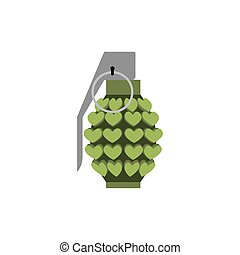 Grenade love isolated. Heart bomb. Military ammunition amour for Cupid. ammo Valentines Day