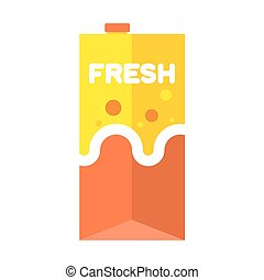 Fresh juice pack isolated. Cardboard box for drink