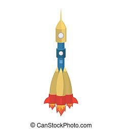 Rocket cartoon style isolated. Spaceship on white background