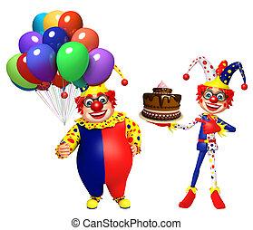 bolo, balões, Palhaço,  &