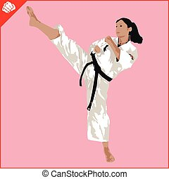 Martial arts. Karate woman fighter silhouette scene. Vector....