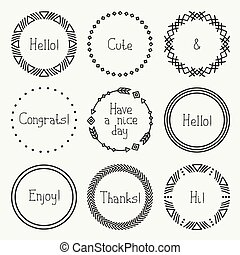 Day of the Dead frame set. Tribal hand drawn line mexican ethnic pattern. Border. Print. Doodles. Handmade native vector illustration. Aztec wreath. Collection for invitation, banner badges, elements