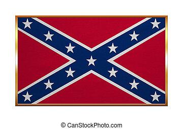 Confederate rebel flag, golden frame, textured - Historical...