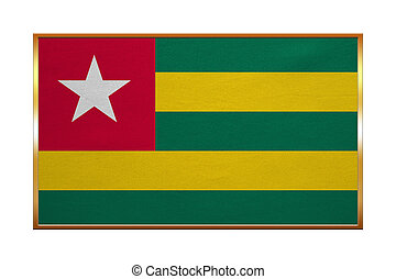Flag of Togo, golden frame, fabric texture - Togolese...
