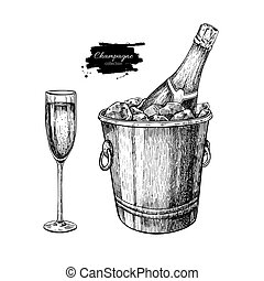Champagne glass and bottle in ice bucket. Hand drawn isolated vec