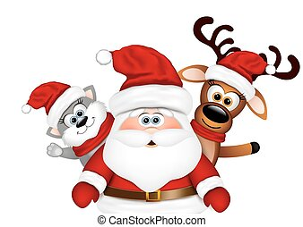 Christmas card. Santa with reindeer and cat