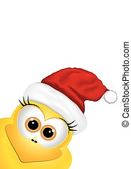 Christmas background with chicken in Santa hat