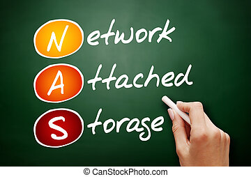 Hand drawn NAS Network Attached Storage, technology business...