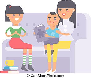 Family on couch vector. - Family on couch. Different people...