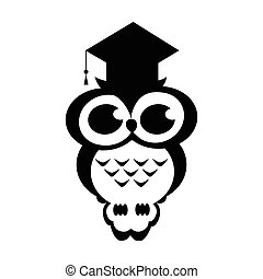 Vector owl academic on the isolated background