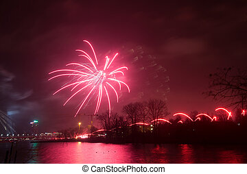 Beautiful fireworks during The Independence Day celebration in Riga, Latvia