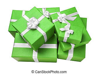 Green gift boxes with white ribbon.