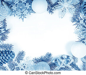 Christmas frame in cold tones for greeting card
