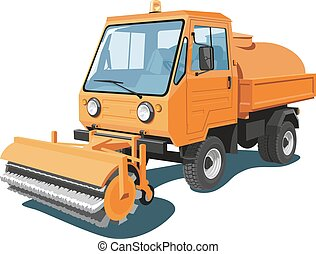 Street sweeper - Vector isolated orange street sweeper on...