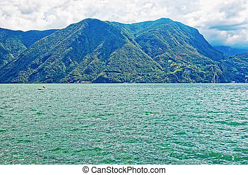 Nature of Lake Lugano and mountains in Ticino Switzerland -...